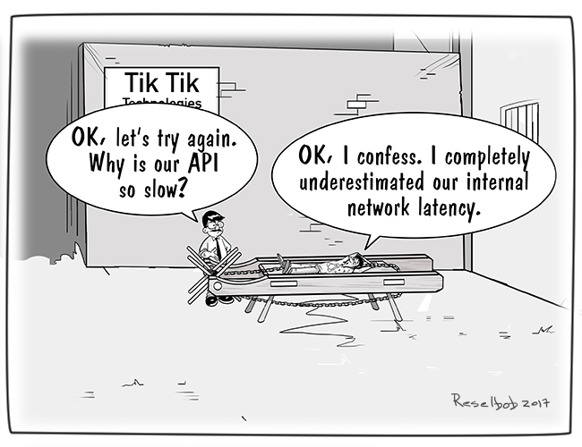 Single Pane Comic Illustrating A Man On A Torture Rack Explaining That He Underestimated Latency